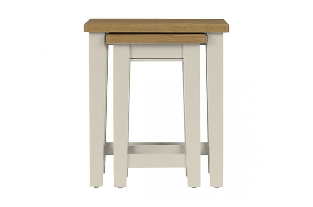 Somerdale Nest of 2 Tables – Ivory with Natural Top