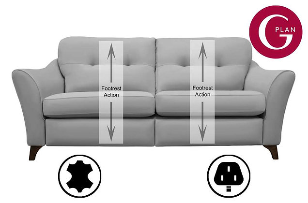 G Plan Hatton Leather 3 Seater Standard Back Sofa With Power Foot Rest