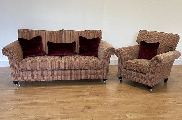 Lowry Stripe 3 Seater Sofa & Armchair