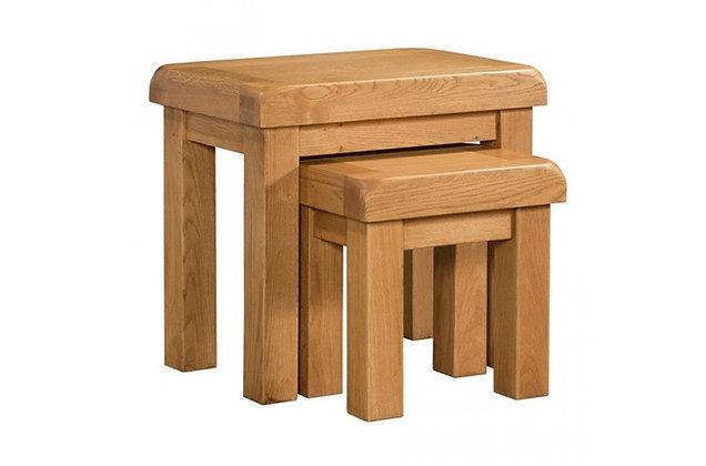 Chunky Oak Nest of 2 Tables