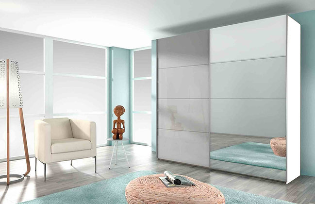 Collection 11 Sliding Door 181cm Wardrobe – with Light Grey & Mirror Doors