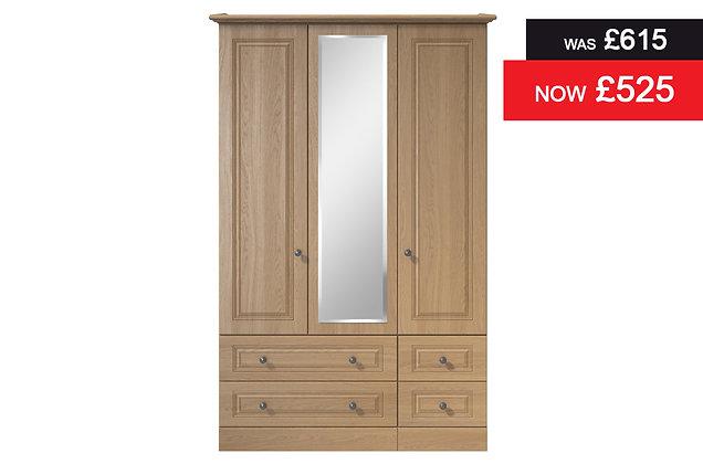 Toledo 3 Door, 4 Drawer Wardrobe with Mirror - Oak