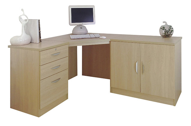 Set 13 – Three Part Corner Desk Set with Hideaway Storage