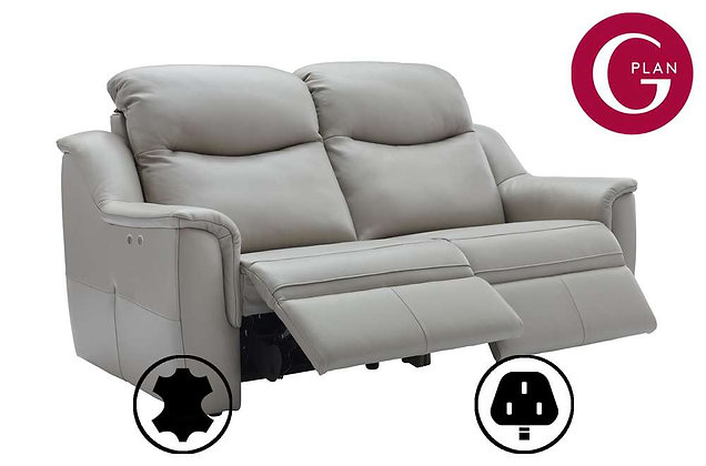 G Plan Firth Leather 3 Seater Double Power Recliner Sofa