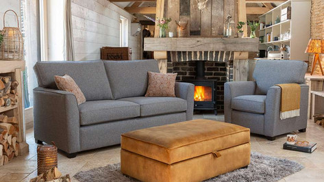 Alstons Reuben 3 Seater Sofa, Fabric Armchair and Ottoman