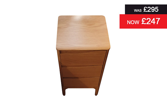 Ercol 3292 Rimini Compact 3 Drawer Bedside Chest
