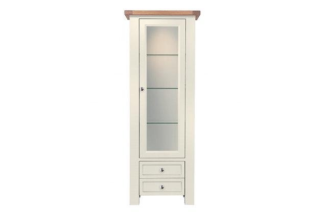 Bretagne 1 Door Display Cabinet – Ivory with Natural Top