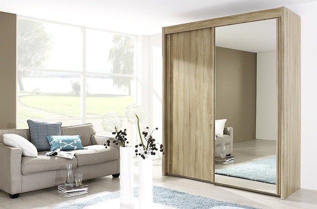 Deluxe 223cm Tall Sliding Door Wardrobe - San Remo Oak Finish