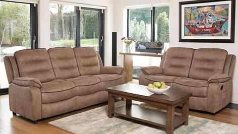 Dakota 'Leather Look' Fabric 3 Seater Sofa & 2 Seater Recliner Sofa