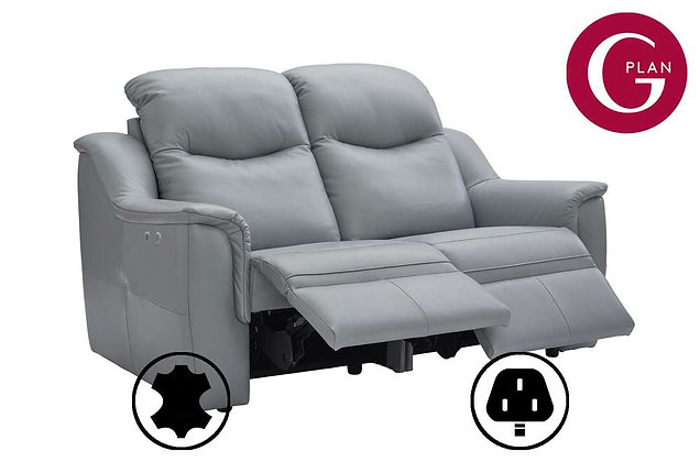 G Plan Firth Leather 2 Seater Double Power Recliner Sofa