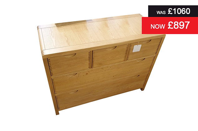 Ercol 1362 Bosco 5 Drawer Low Wide Chest