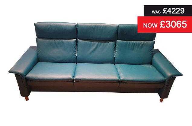 Stressless Aurora 3 Seater Highback Sofa - Paloma Crystal Blue