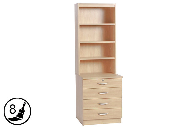 R White B-4DC-OD – Four Drawer Chest with Hutch