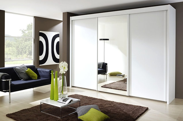 Deluxe 197cm Tall Sliding Door Wardrobe - Alpine White Finish