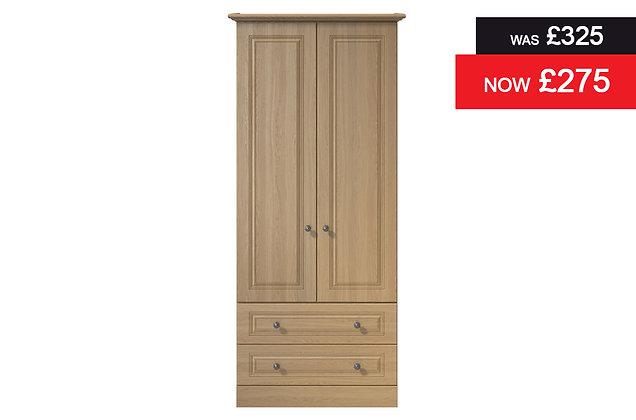 Toledo 2 Door, 2 Drawer Wardrobe - Oak