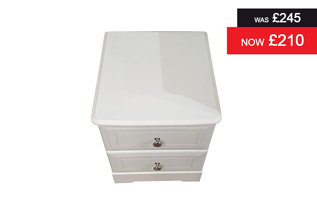 Nicole 2 Drawer Bedside Chest - White