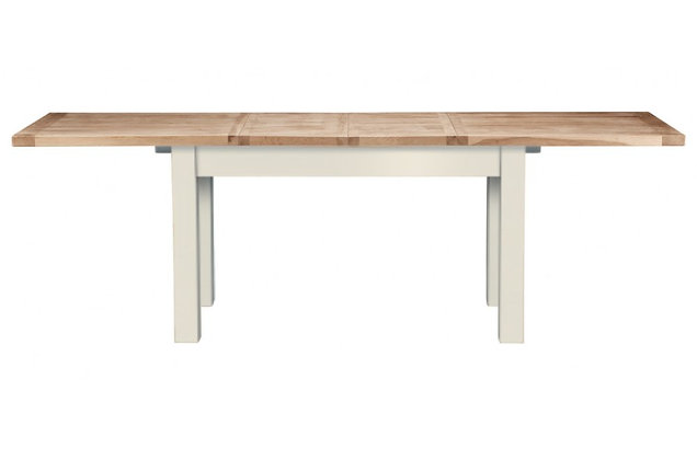Bretagne 160cm Extending Dining Table – Ivory with Natural Top
