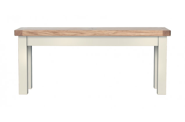 Bretagne 98cm Bench – Ivory with Natural Top