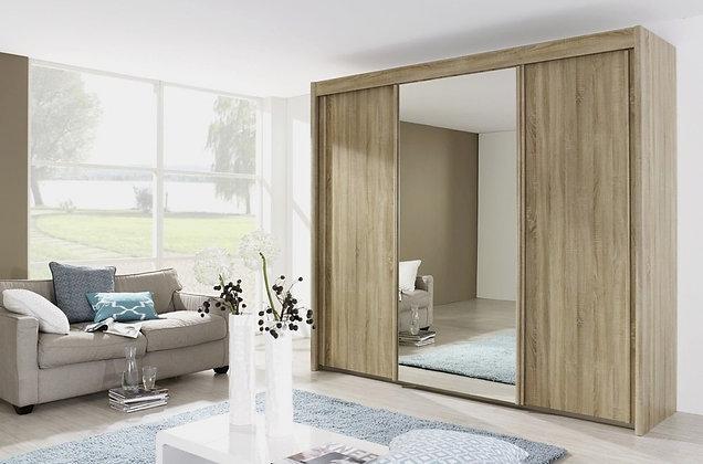 Deluxe 223cm Tall Sliding Door Wardrobe - Riviera Oak Finish