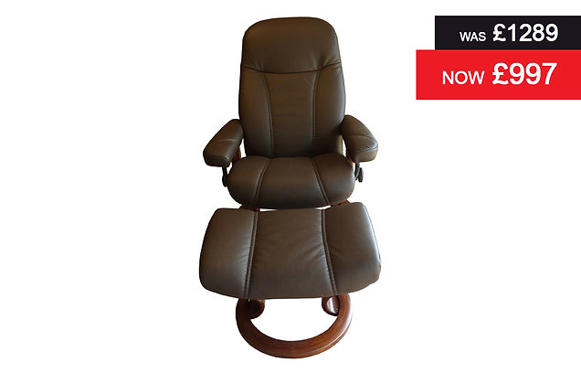 Stressless Diplomat Recliner Chair & Footstool - Batick Brown