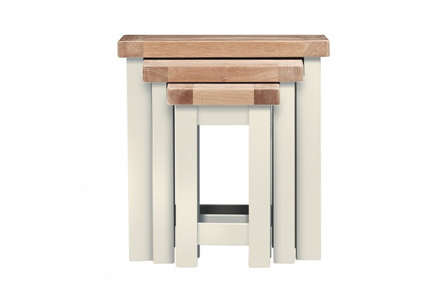 Bretagne Nest of 3 Tables – Ivory with Natural Top