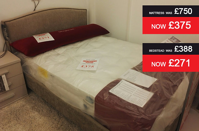 Strand 4'6'' Mattress and Charlotte 4'6'' Fabric Bedstead