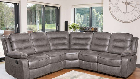 Dakota 'Leather Look' Fabric Corner Recliner Sofa