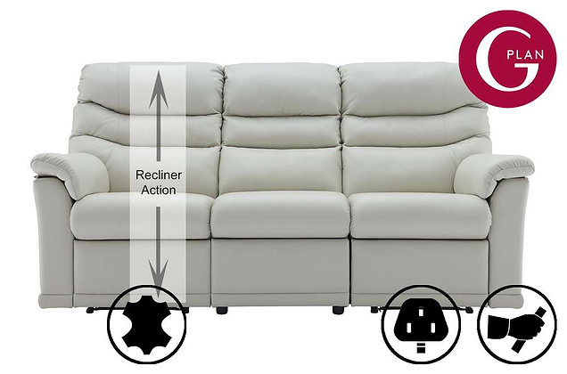 G Plan Malvern Leather 3 Seater Left Hand Facing Single Recliner Sofa