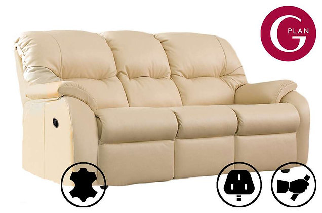 G Plan Mistral Leather 3 Seater Double Recliner Sofa