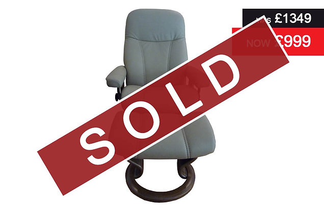 Stressless Consul Recliner Chair & Footstool - Batick Mole