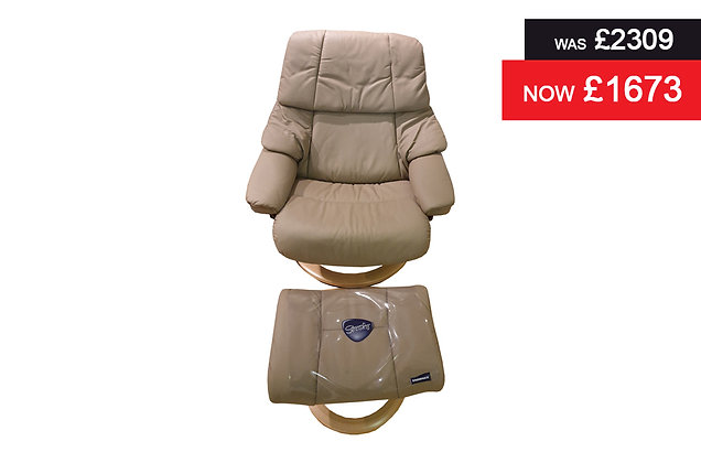 Stressless Reno Large Recliner Chair & Footstool - Batick Mole