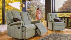 Sherborne Milburn 2 Seater Small Fabric Manual Recliner Sofa & Small Armchair