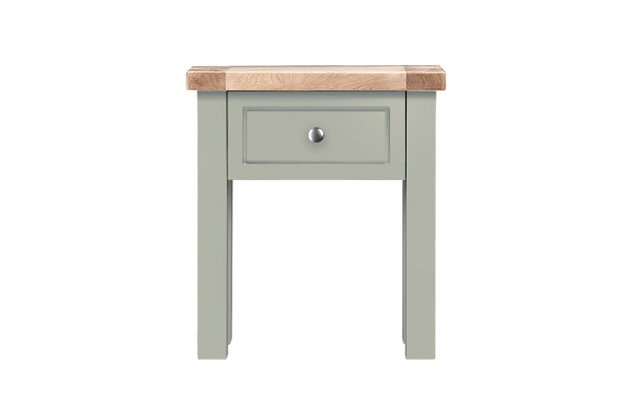 Bretagne 1 Drawer Lamp Table – Rockford Grey with Natural Top