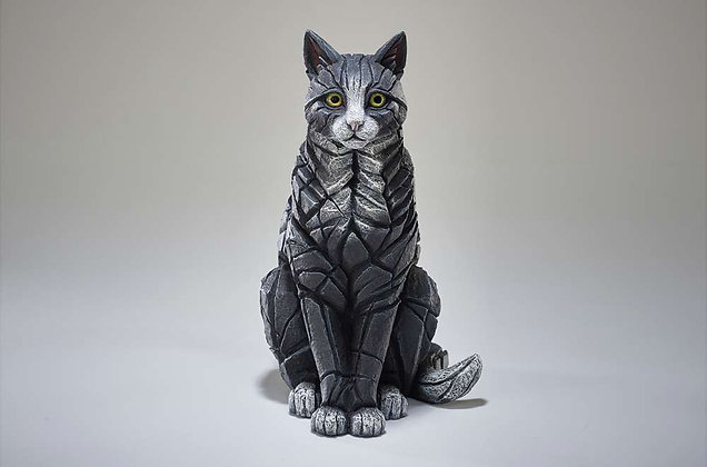 Edge Sculpture Cat Sitting Figure - Black & White