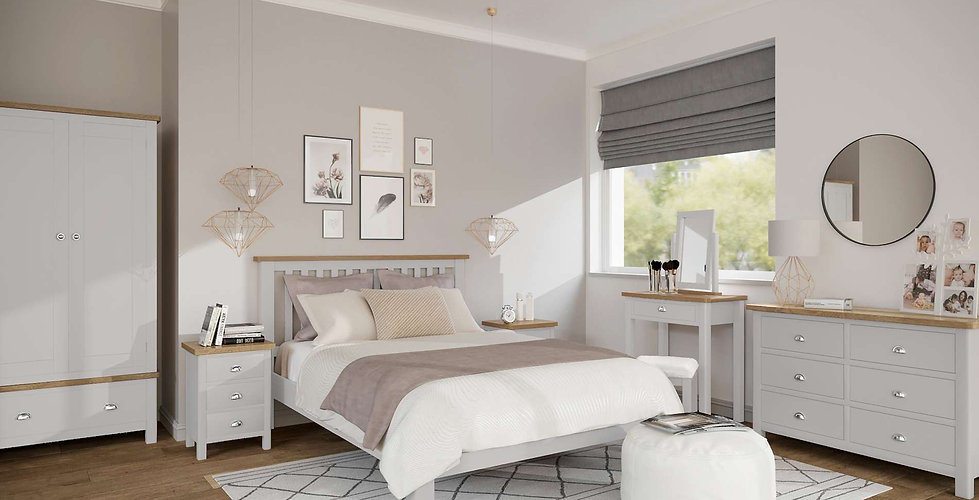 Boston Bedroom Furniture shown in Pebble Grey with Natural Oak Finish
