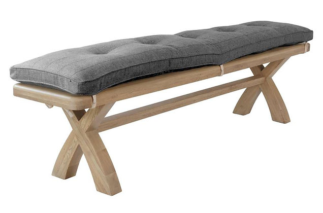 Manor Oak 2m Bench Cushion Only – Grey Check