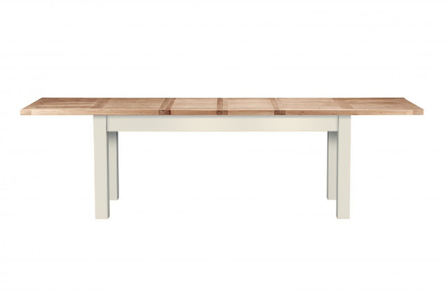 Bretagne 200cm Extending Dining Table – Ivory with Natural Top