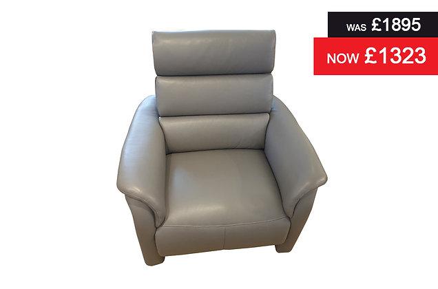 Appledore Power Recliner Chair - Grey semi aniline hide