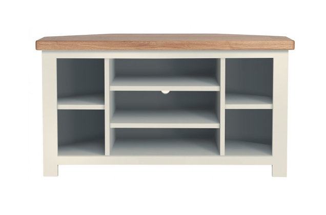 Bretagne Corner TV Unit – Ivory with Natural Top