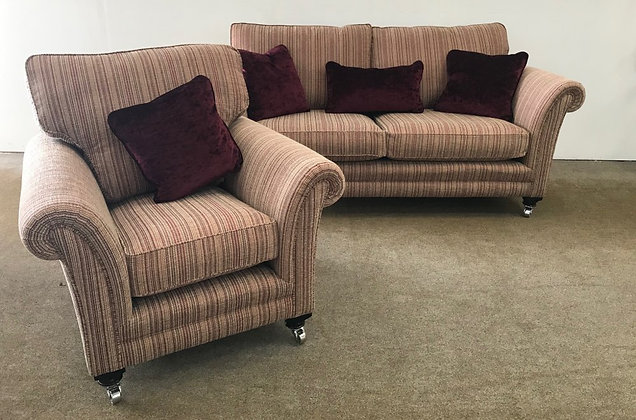 Lowry Stripe 3 Seater Sofa & Armchair