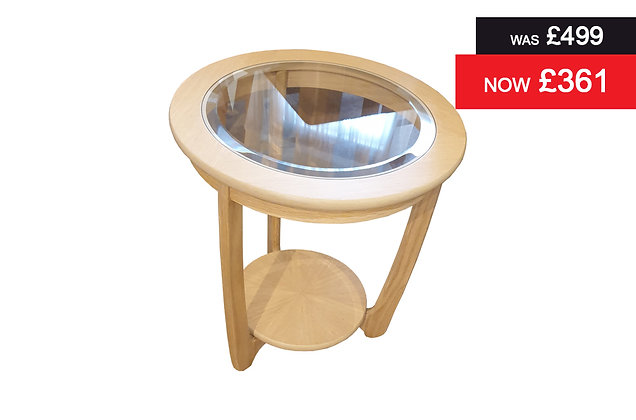 Shades 5815 Oak and Glass Round Lamp Table