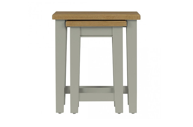 Somerdale Nest of 2 Tables – Rockford Grey with Natural Top