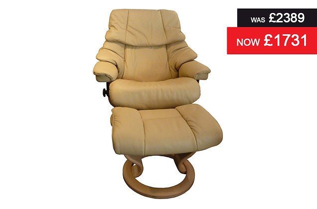 Stressless Reno Large Recliner Chair & Footstool - Paloma Camel