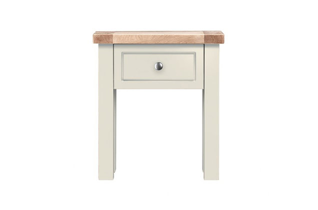 Bretagne 1 Drawer Lamp Table – Ivory with Natural Top