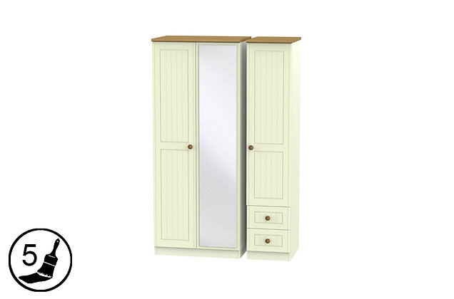 Solent 2 Small Drawer Triple Wardrobe with Mirror