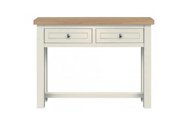 Bretagne 2 Drawer Console Table – Ivory with Natural Top