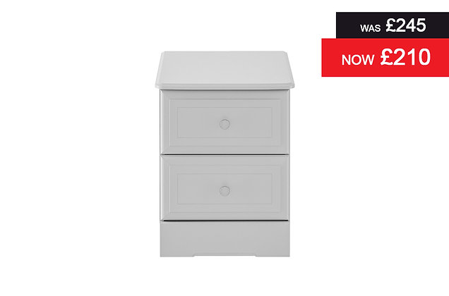 Nicole 2 Drawer Bedside Chest - Grey