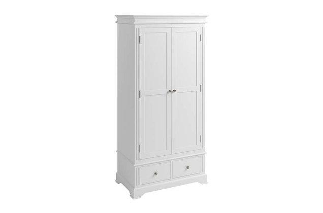 Polar White 2 Door, 2 Drawer Wardrobe