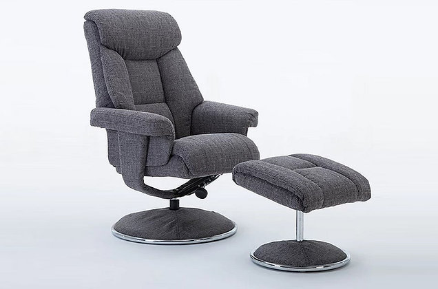 Somerset Swivel Recliner Chair and Stool - Charcoal