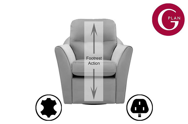 G Plan Flint Leather Swivel Chair With Power Foot Rest